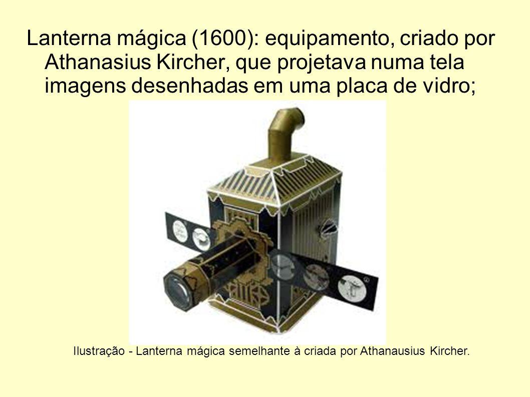 Lanterna mágica (1600): equipamento, criado por Athanasius Kircher, que projetava numa tela imagens desenhadas em uma placa de vidro;