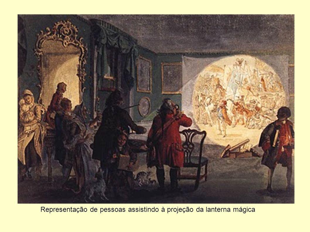 Representação de pessoas assistindo à projeção da lanterna mágica