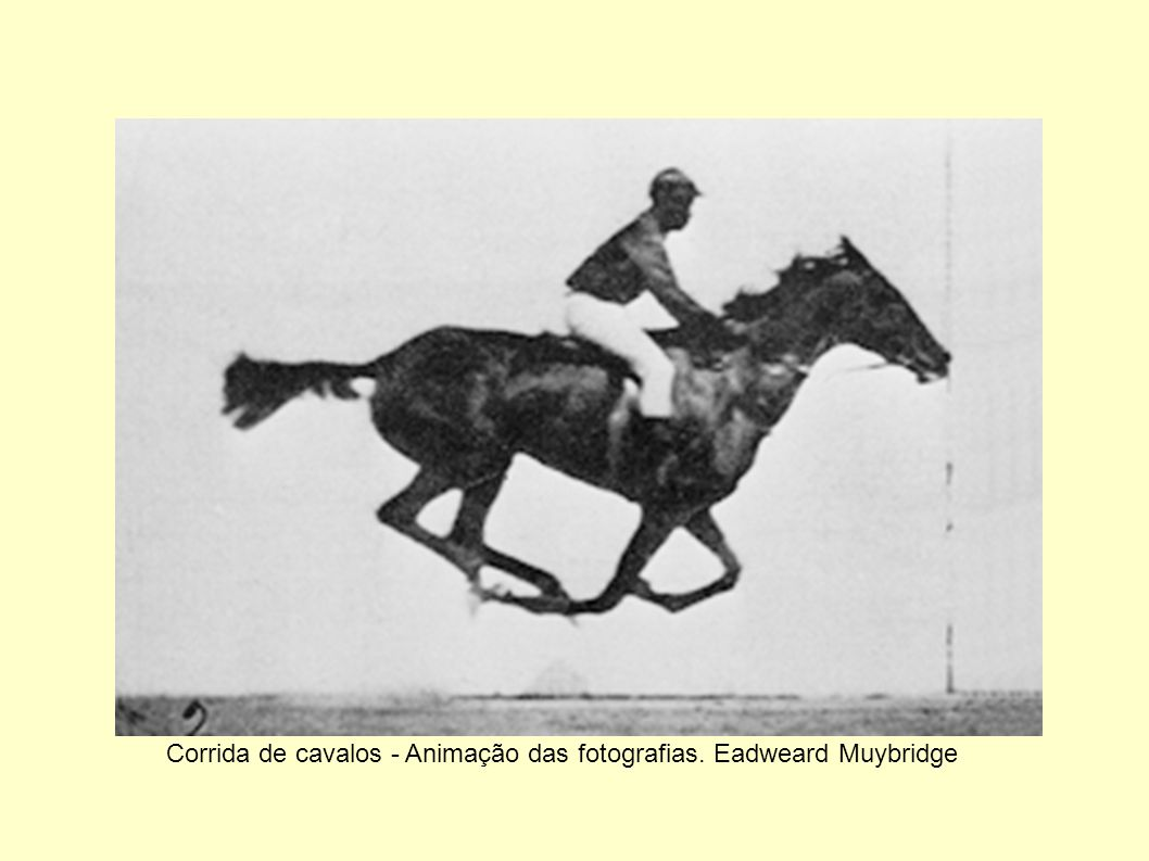 Corrida de cavalos - Animação das fotografias. Eadweard Muybridge