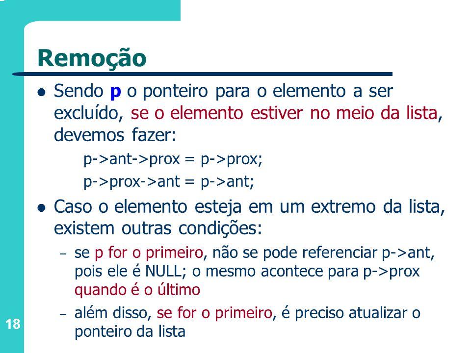 Remoção Sendo p o ponteiro para o elemento a ser excluído, se o elemento estiver no meio da lista, devemos fazer: