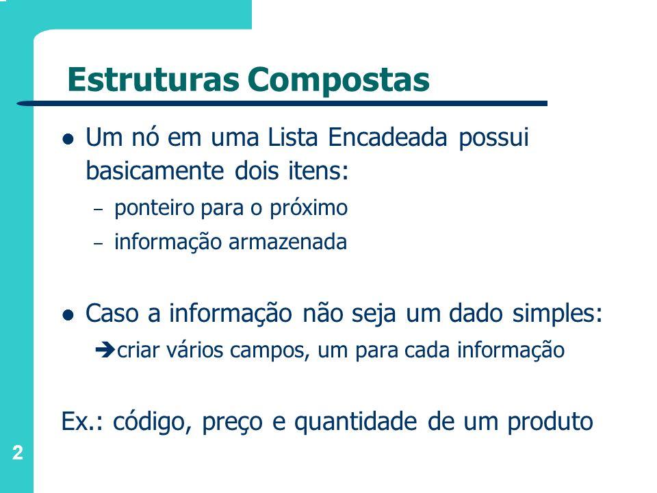 Estruturas Compostas Um nó em uma Lista Encadeada possui basicamente dois itens: ponteiro para o próximo.