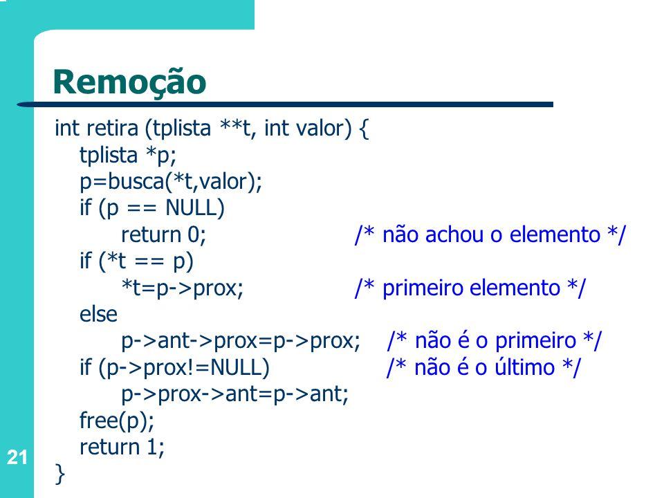Remoção int retira (tplista **t, int valor) { tplista *p;