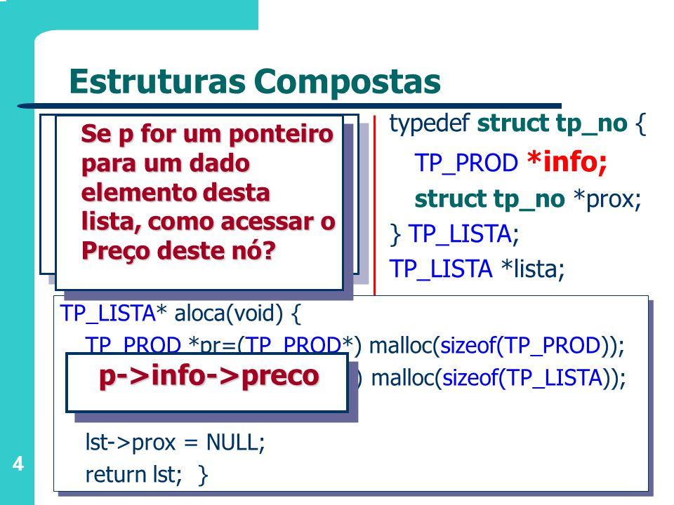 Estruturas Compostas p->info->preco typedef struct tp_no {