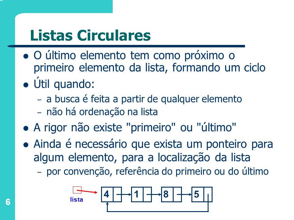 Listas Circulares O último elemento tem como próximo o primeiro elemento da lista, formando um ciclo.