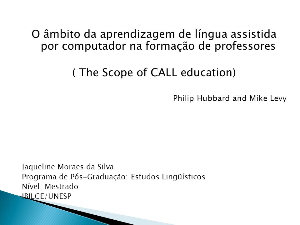 ( The Scope of CALL education)