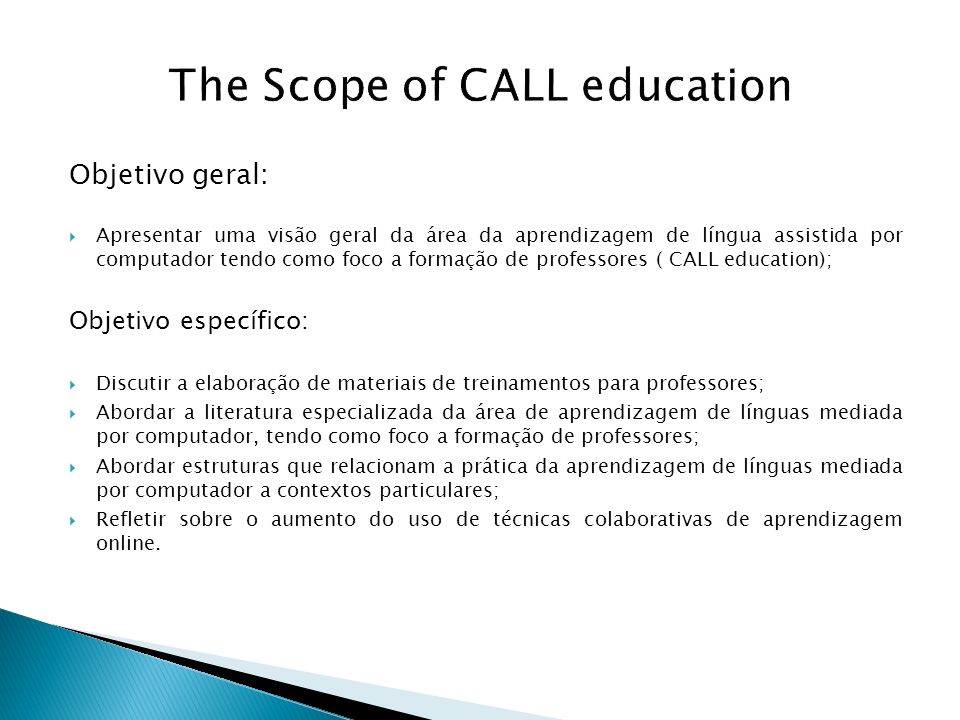 The Scope of CALL education