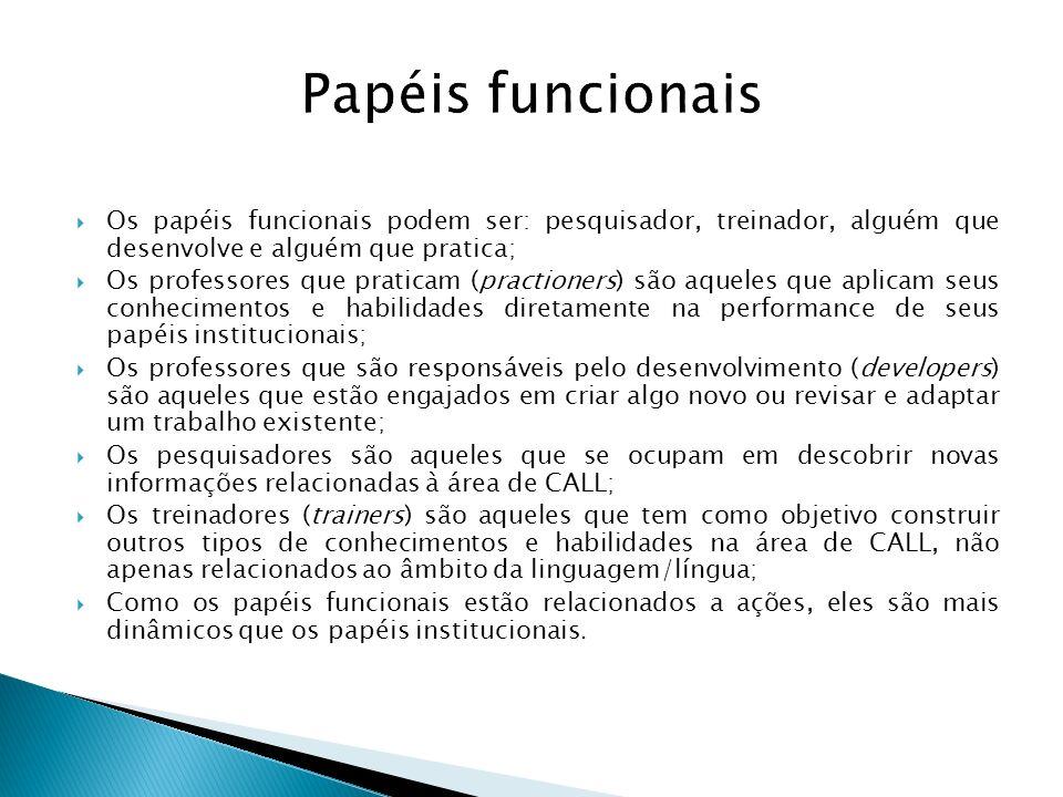 Papéis funcionais Os papéis funcionais podem ser: pesquisador, treinador, alguém que desenvolve e alguém que pratica;