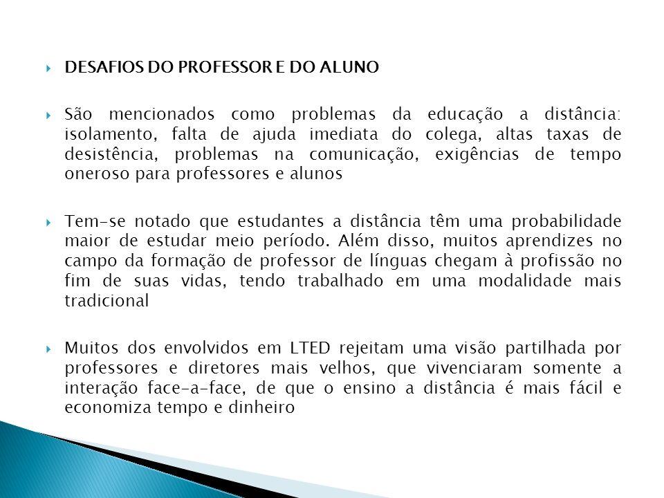 DESAFIOS DO PROFESSOR E DO ALUNO