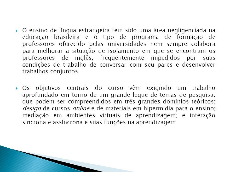 O ensino de língua estrangeira tem sido uma área negligenciada na educação brasileira e o tipo de programa de formação de professores oferecido pelas universidades nem sempre colabora para melhorar a situação de isolamento em que se encontram os professores de inglês, frequentemente impedidos por suas condições de trabalho de conversar com seu pares e desenvolver trabalhos conjuntos
