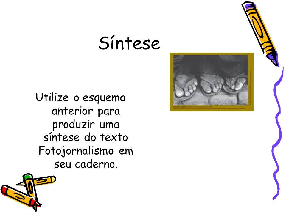 Síntese Utilize o esquema anterior para produzir uma síntese do texto Fotojornalismo em seu caderno.