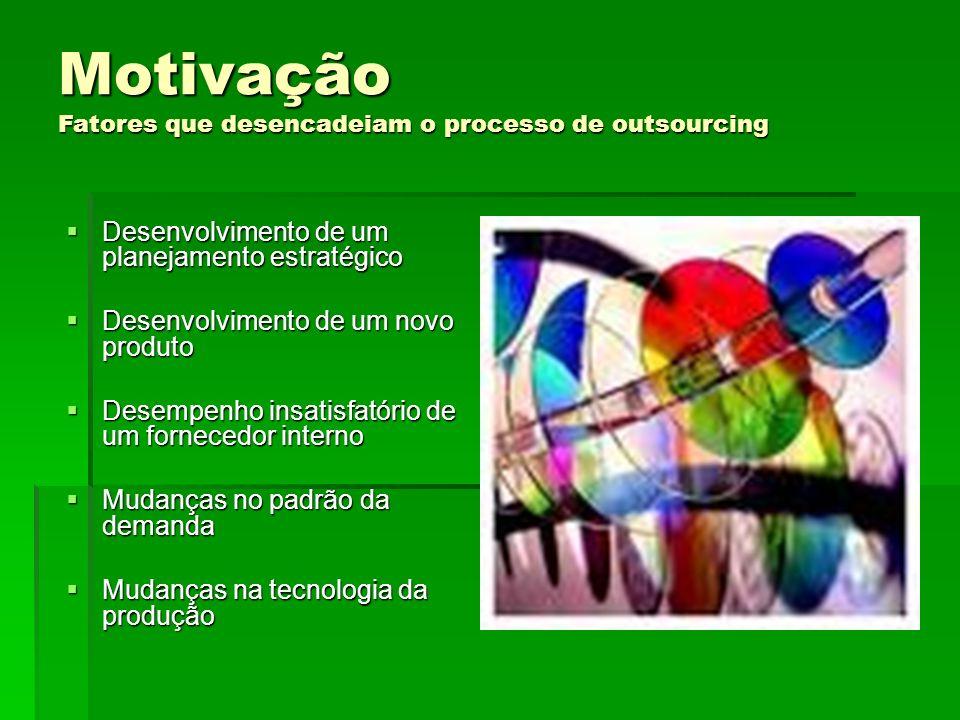 Motivação Fatores que desencadeiam o processo de outsourcing