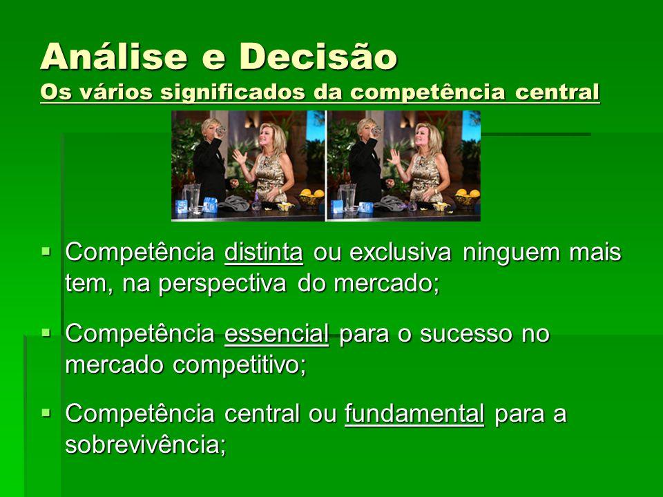 Análise e Decisão Os vários significados da competência central