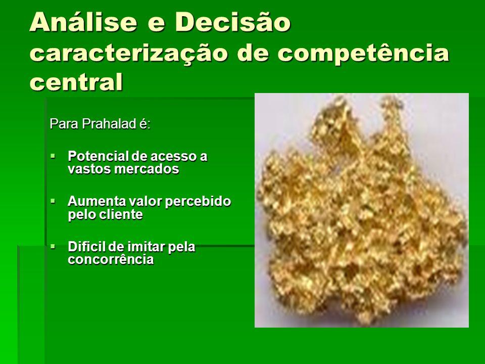 Análise e Decisão caracterização de competência central