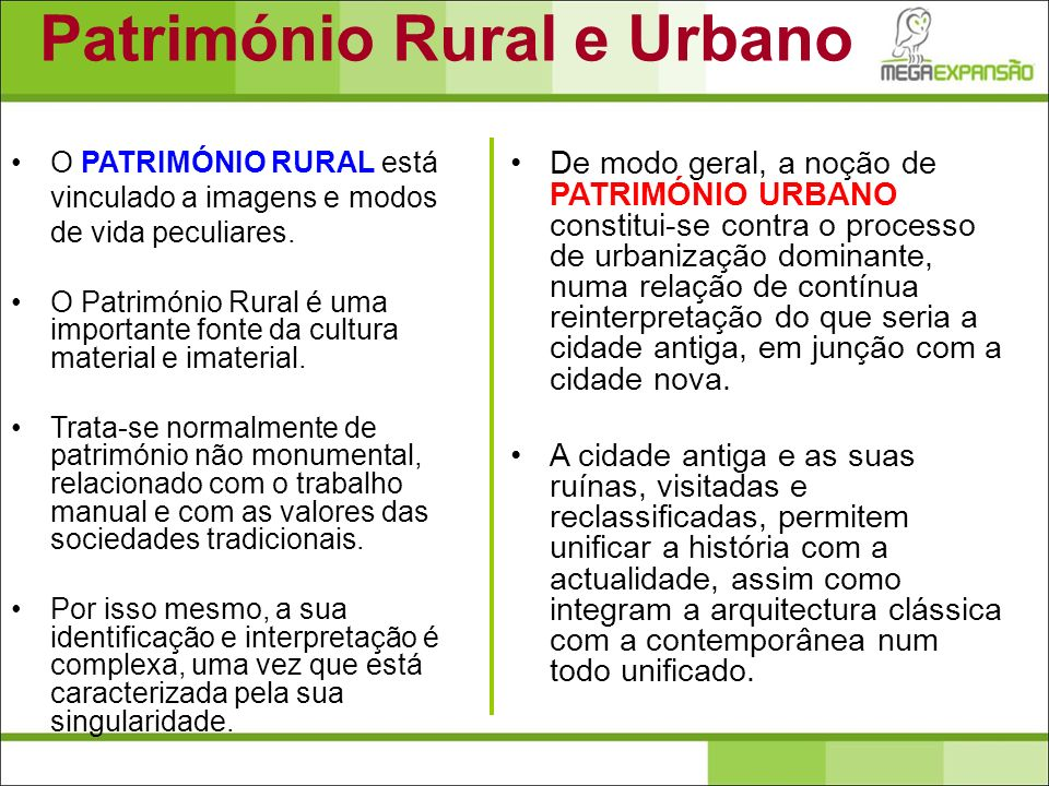 Património Rural e Urbano