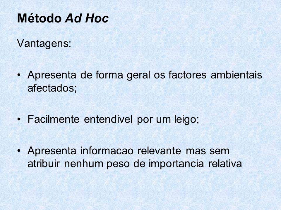 Método Ad Hoc Vantagens: