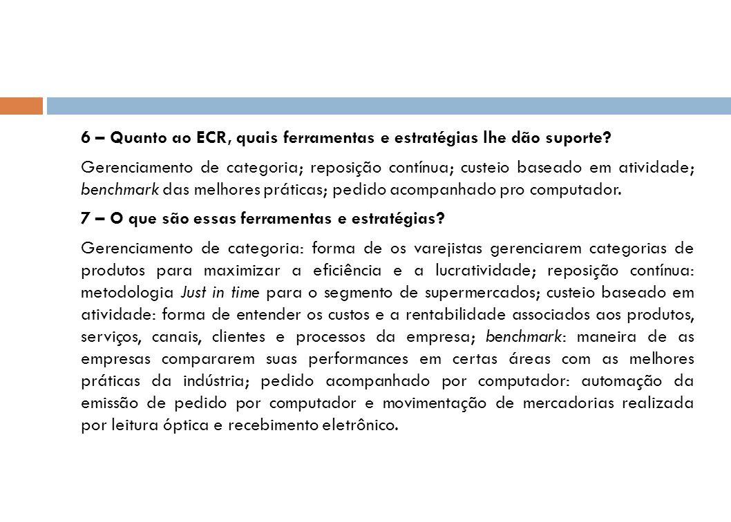 6 – Quanto ao ECR, quais ferramentas e estratégias lhe dão suporte