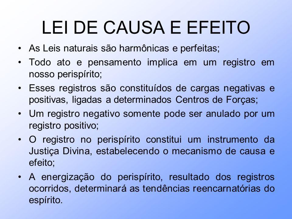 LEI DE CAUSA E EFEITO As Leis naturais são harmônicas e perfeitas;