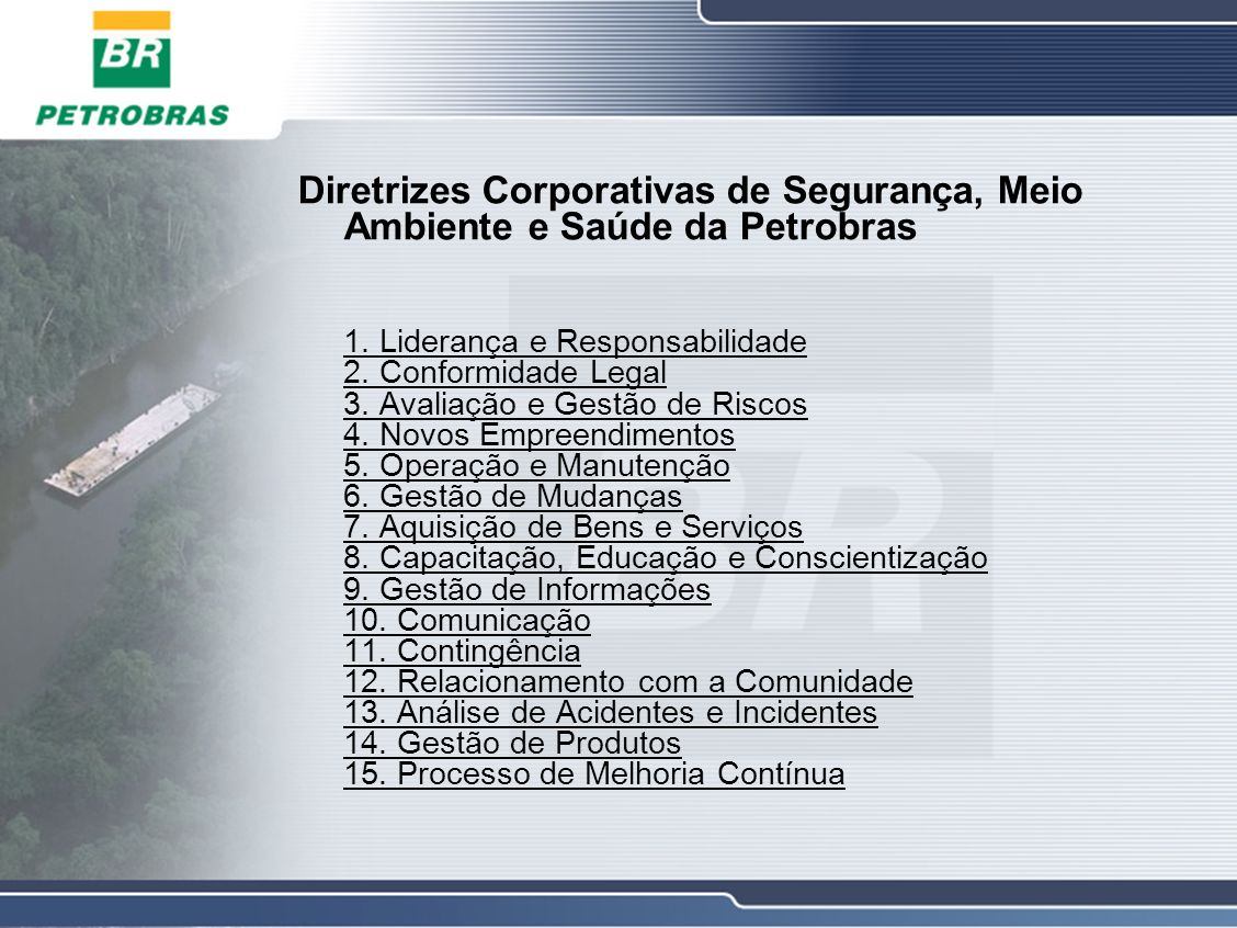 Diretrizes Corporativas de Segurança, Meio Ambiente e Saúde da Petrobras