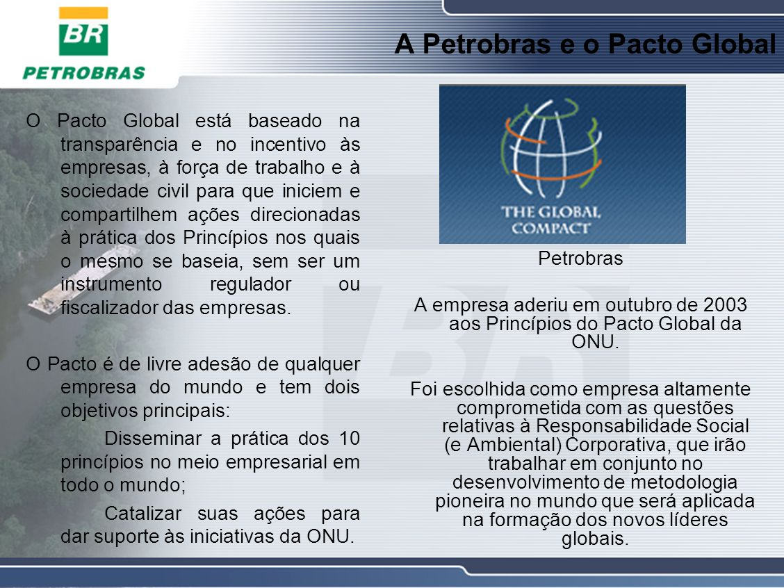 A Petrobras e o Pacto Global