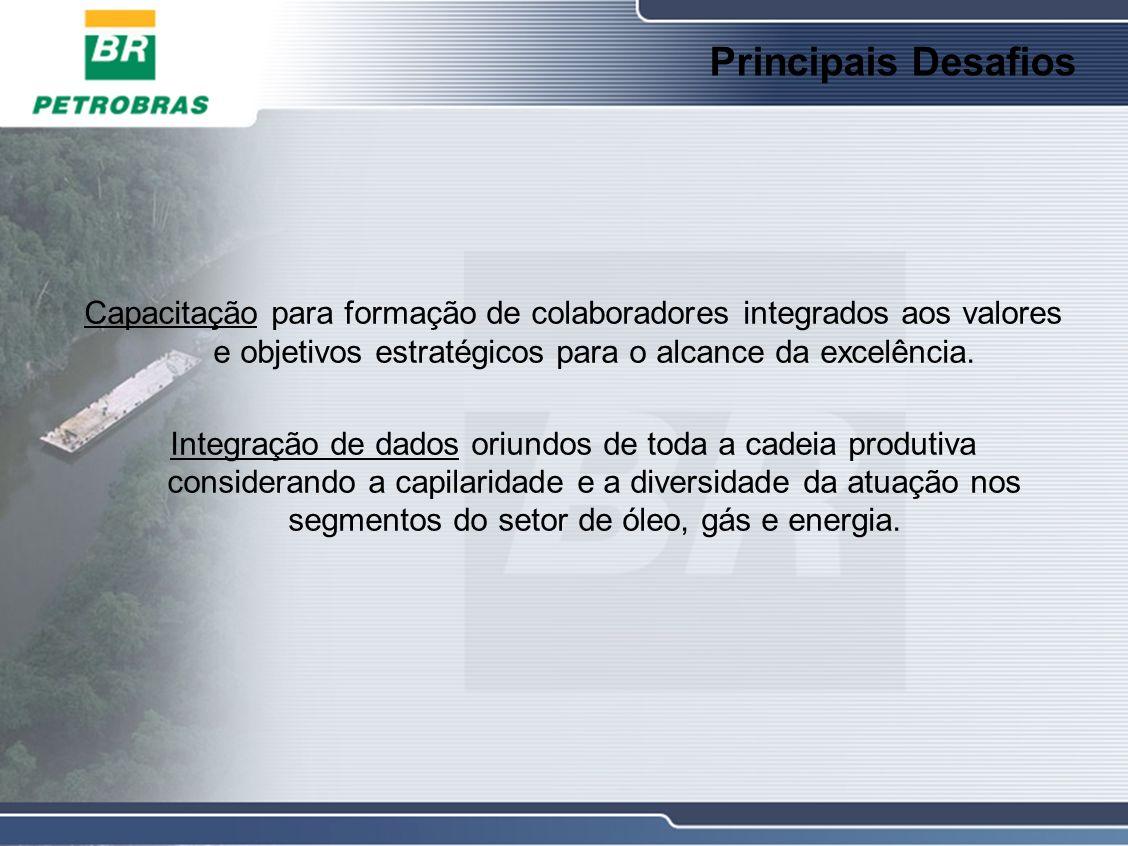 Principais Desafios Capacitação para formação de colaboradores integrados aos valores e objetivos estratégicos para o alcance da excelência.