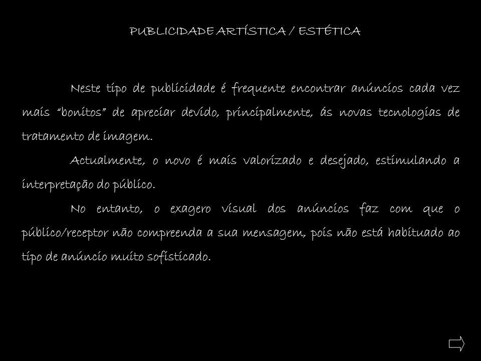 PUBLICIDADE ARTÍSTICA / ESTÉTICA