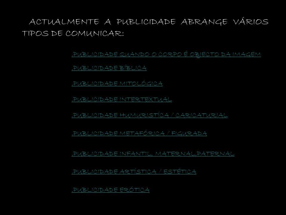 ACTUALMENTE A PUBLICIDADE ABRANGE VÁRIOS TIPOS DE COMUNICAR: