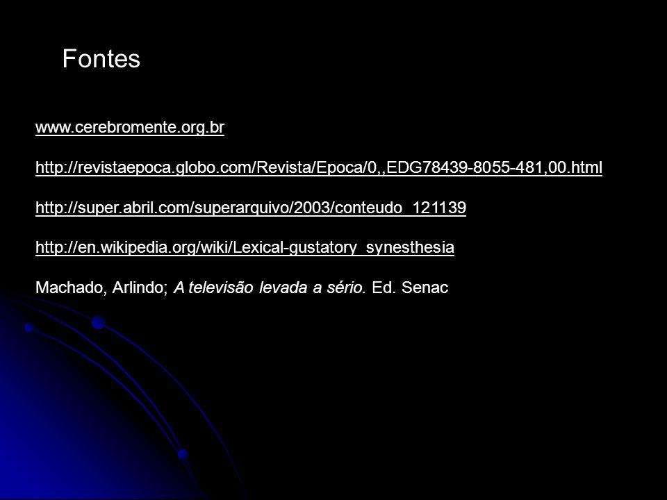 Fontes www.cerebromente.org.br