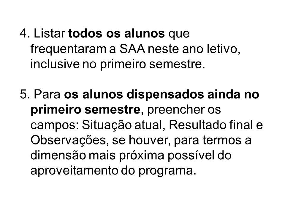 4. Listar todos os alunos que frequentaram a SAA neste ano letivo, inclusive no primeiro semestre.