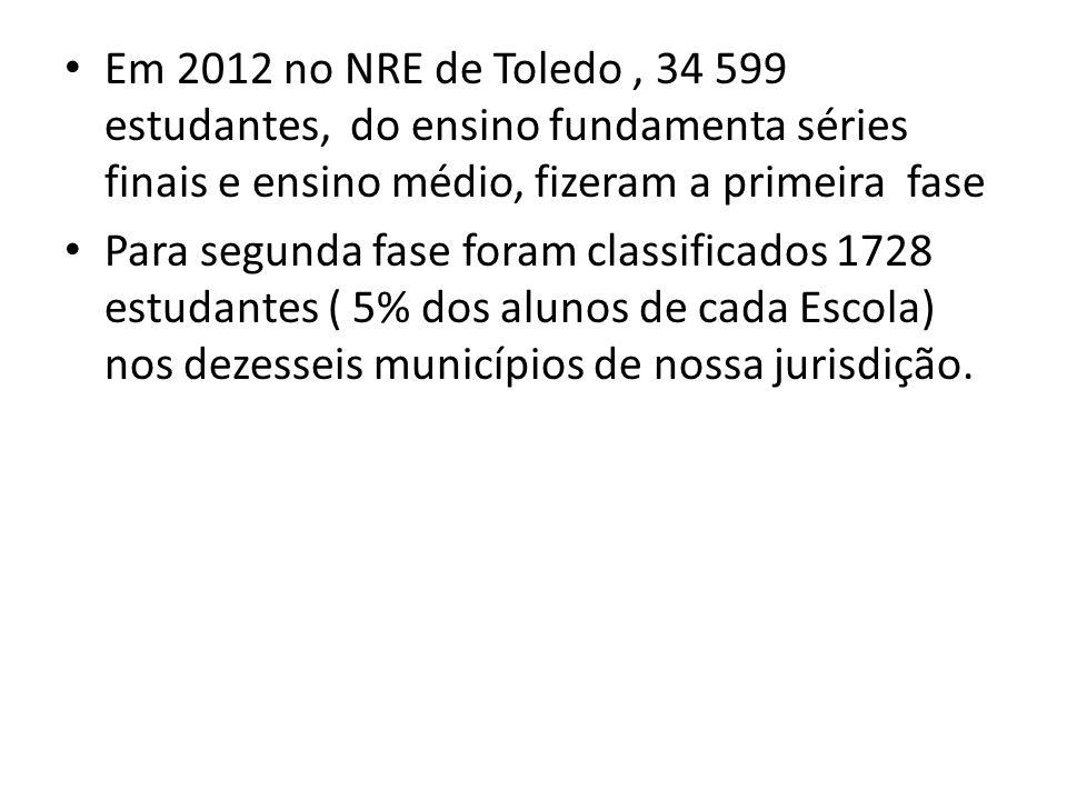 Em 2012 no NRE de Toledo , 34 599 estudantes, do ensino fundamenta séries finais e ensino médio, fizeram a primeira fase