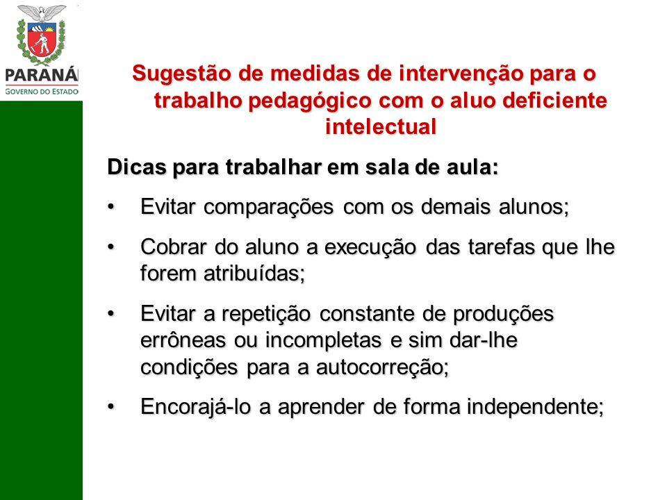 Sugestão de medidas de intervenção para o trabalho pedagógico com o aluo deficiente intelectual