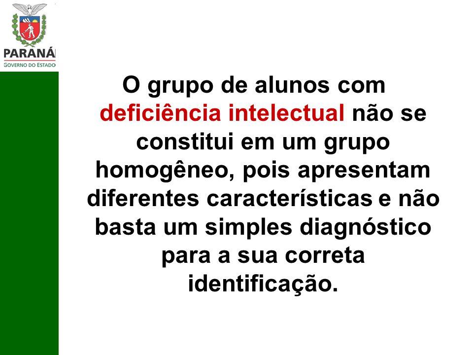 O grupo de alunos com deficiência intelectual não se constitui em um grupo homogêneo, pois apresentam diferentes características e não basta um simples diagnóstico para a sua correta identificação.