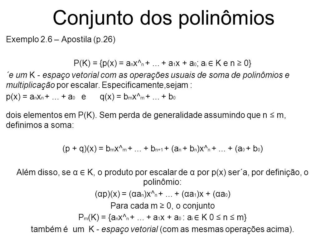 Conjunto dos polinômios