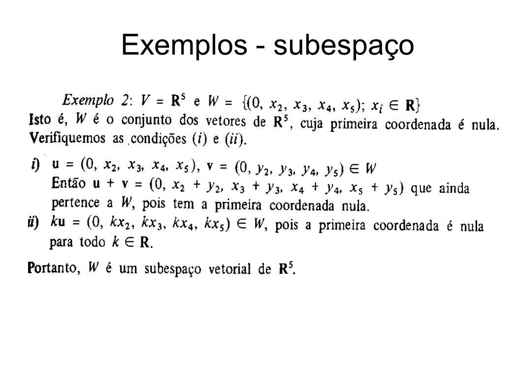 Exemplos - subespaço