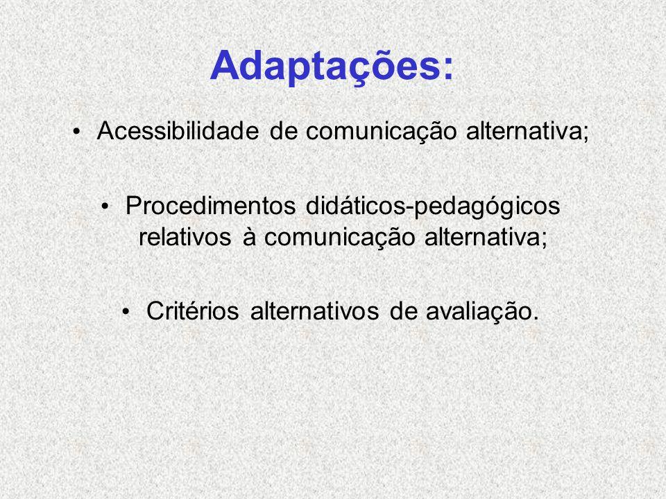 Adaptações: Acessibilidade de comunicação alternativa;