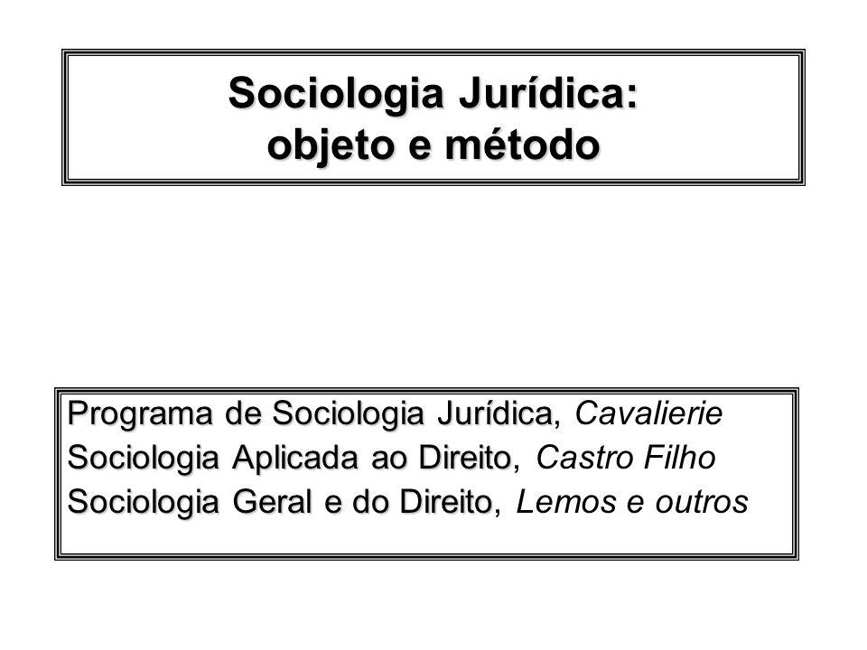 Sociologia Jurídica: objeto e método