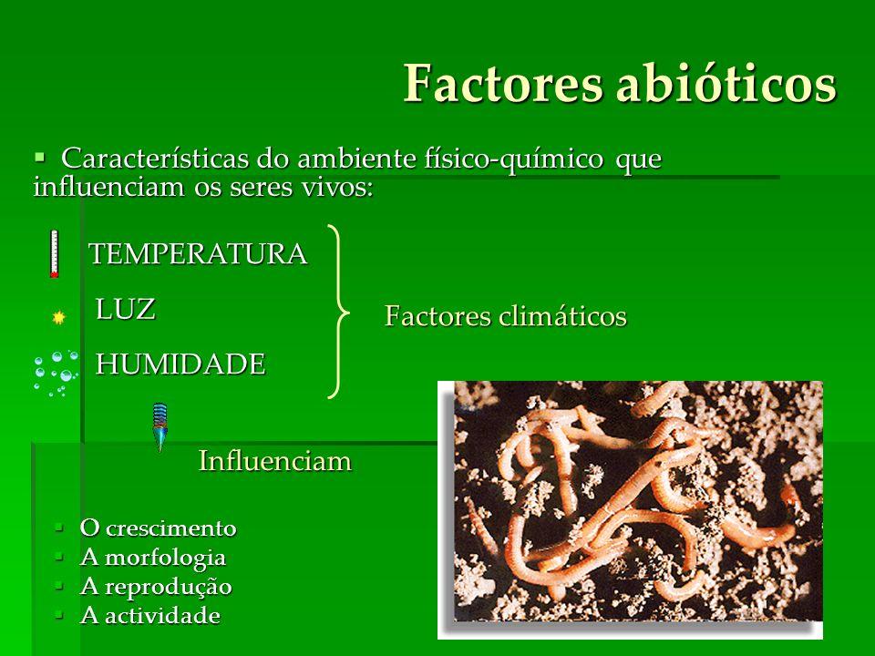 Factores abióticos Características do ambiente físico-químico que influenciam os seres vivos: TEMPERATURA.