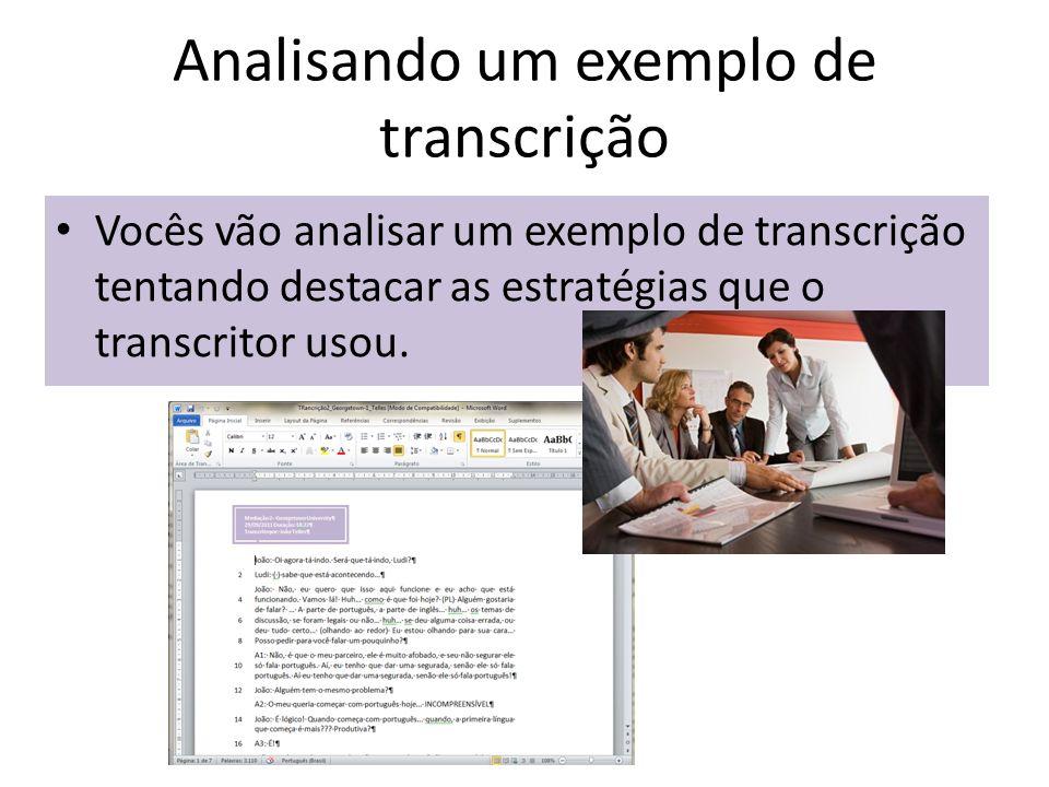 Analisando um exemplo de transcrição