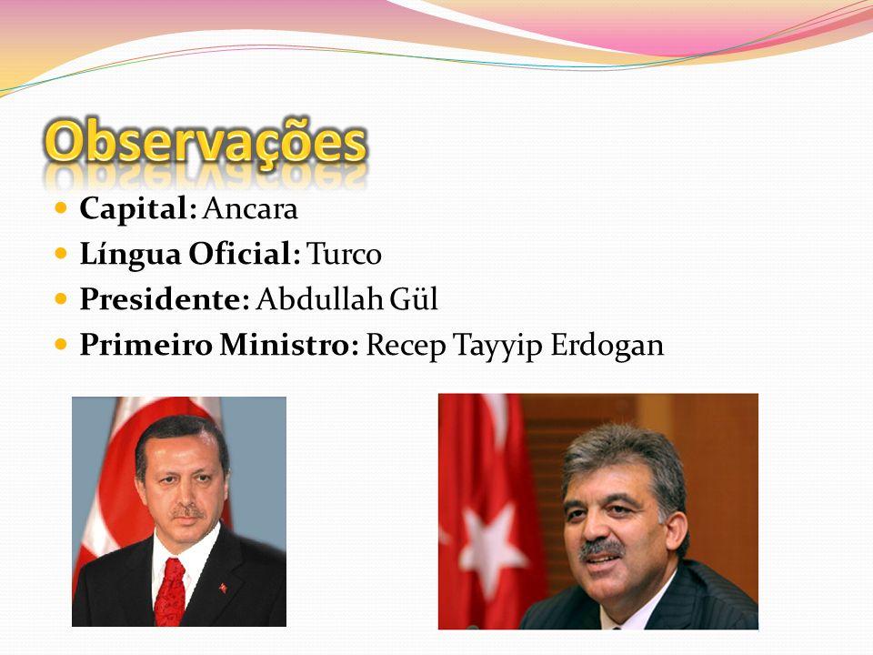 Observações Capital: Ancara Língua Oficial: Turco