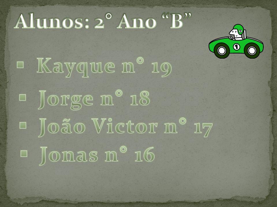 Alunos: 2° Ano B Kayque n° 19 Jorge n° 18 João Victor n° 17 Jonas n° 16