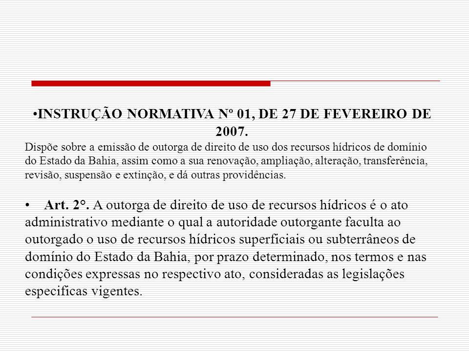 INSTRUÇÃO NORMATIVA Nº 01, DE 27 DE FEVEREIRO DE 2007.