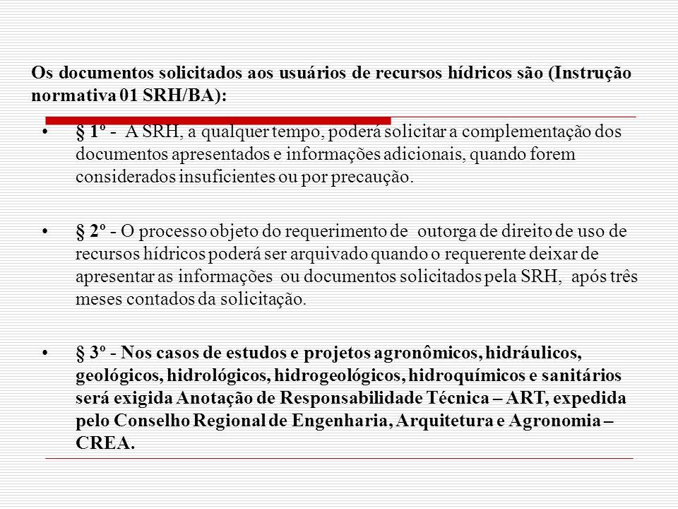 Os documentos solicitados aos usuários de recursos hídricos são (Instrução normativa 01 SRH/BA):