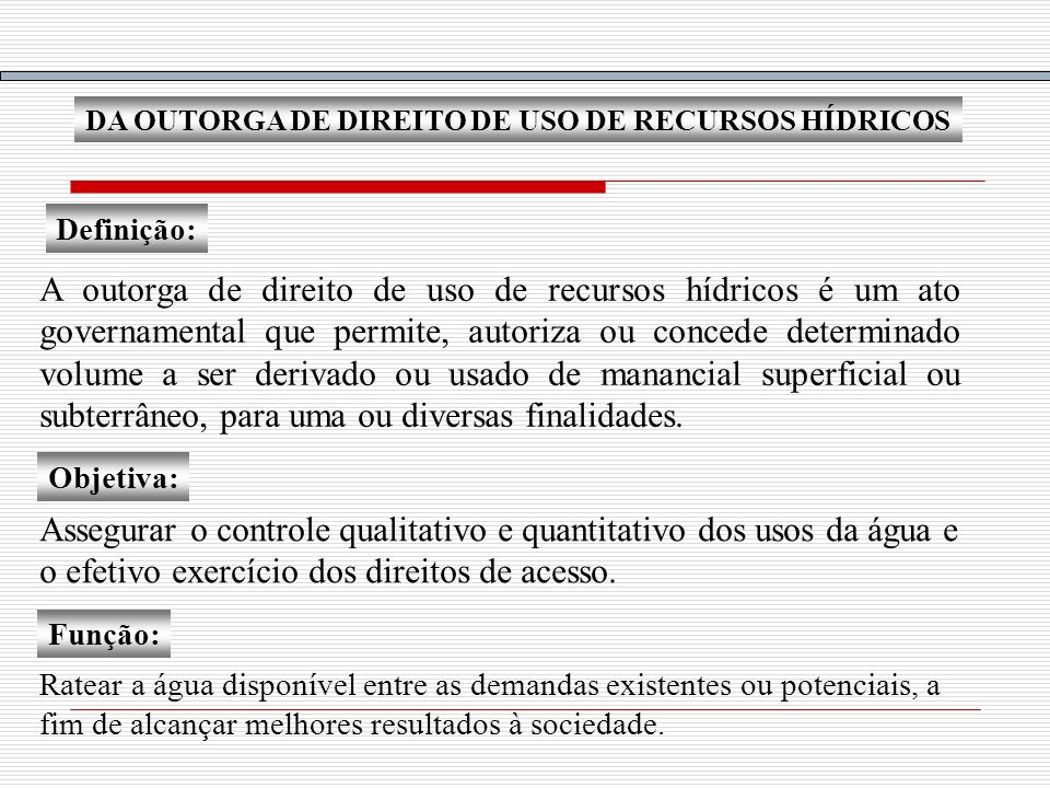 DA OUTORGA DE DIREITO DE USO DE RECURSOS HÍDRICOS