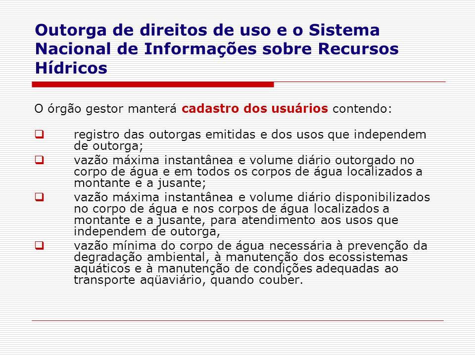 Outorga de direitos de uso e o Sistema Nacional de Informações sobre Recursos Hídricos
