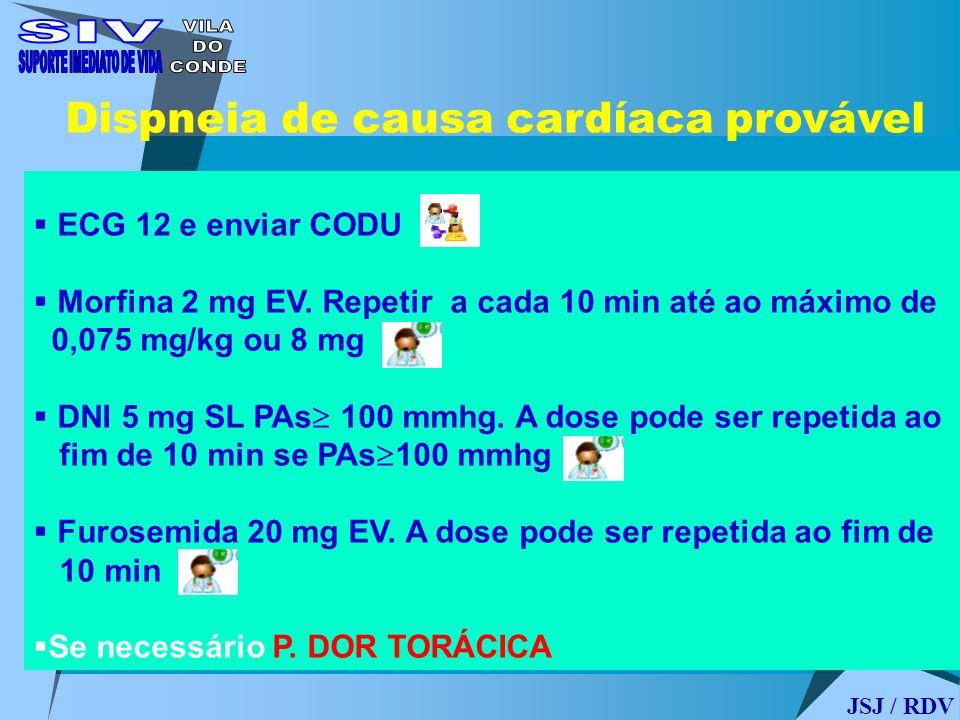 Dispneia de causa cardíaca provável