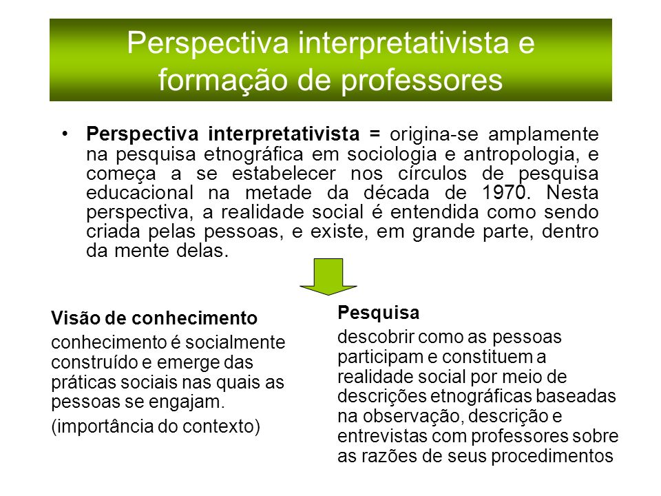 Perspectiva interpretativista e formação de professores