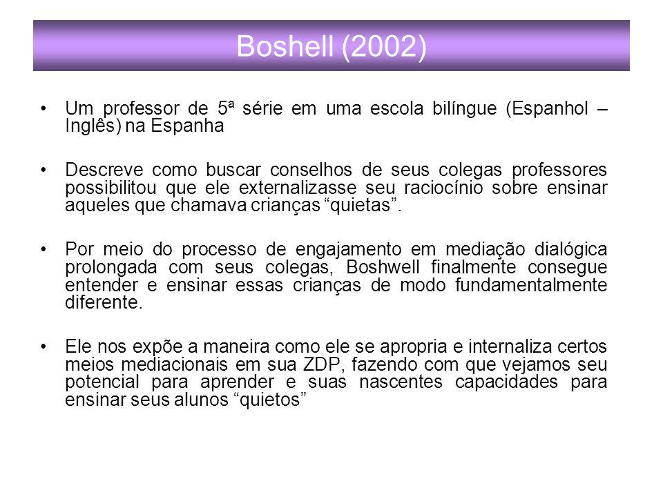 Boshell (2002) Um professor de 5ª série em uma escola bilíngue (Espanhol – Inglês) na Espanha.