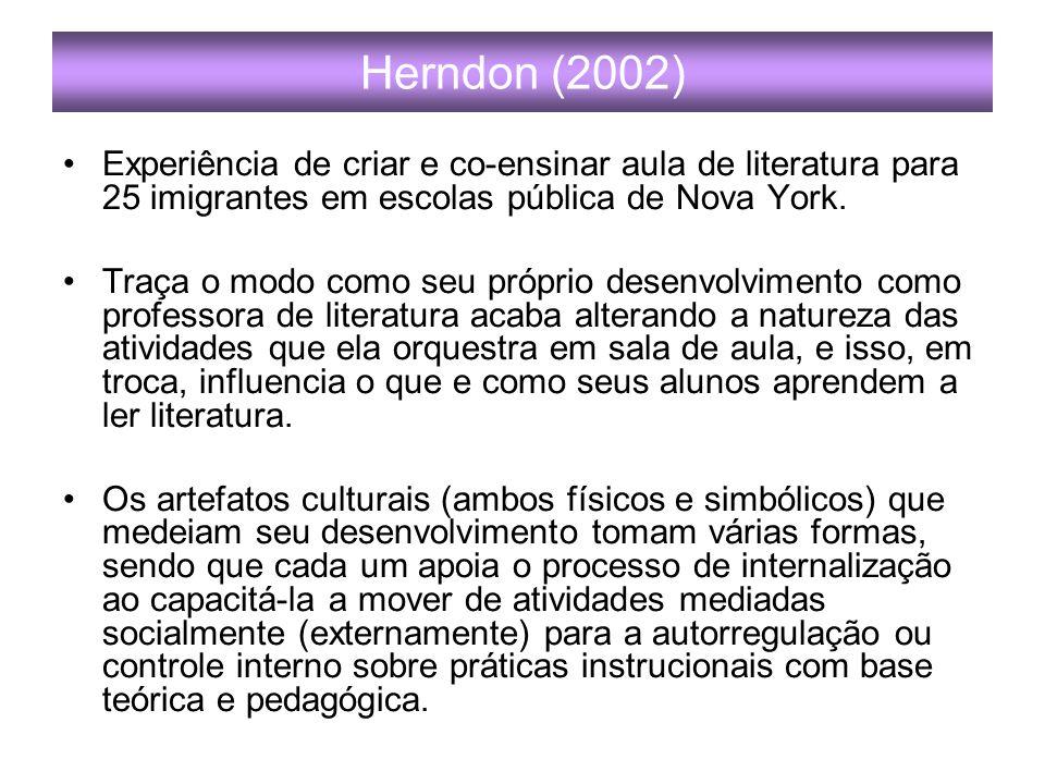 Herndon (2002) Experiência de criar e co-ensinar aula de literatura para 25 imigrantes em escolas pública de Nova York.