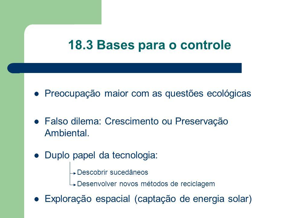 18.3 Bases para o controle Preocupação maior com as questões ecológicas. Falso dilema: Crescimento ou Preservação Ambiental.