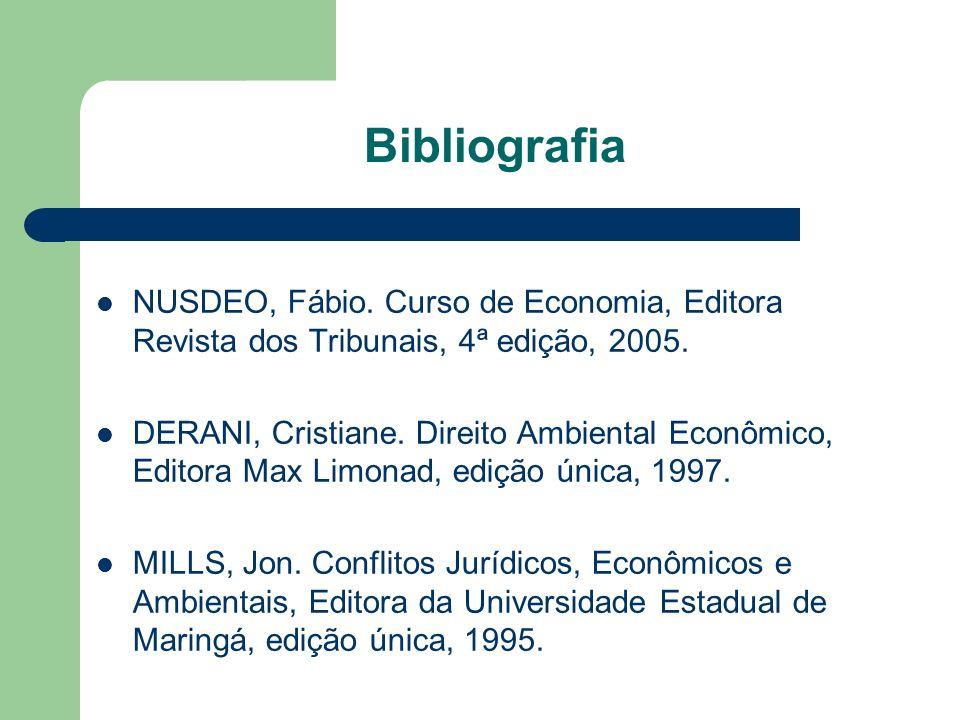 Bibliografia NUSDEO, Fábio. Curso de Economia, Editora Revista dos Tribunais, 4ª edição, 2005.