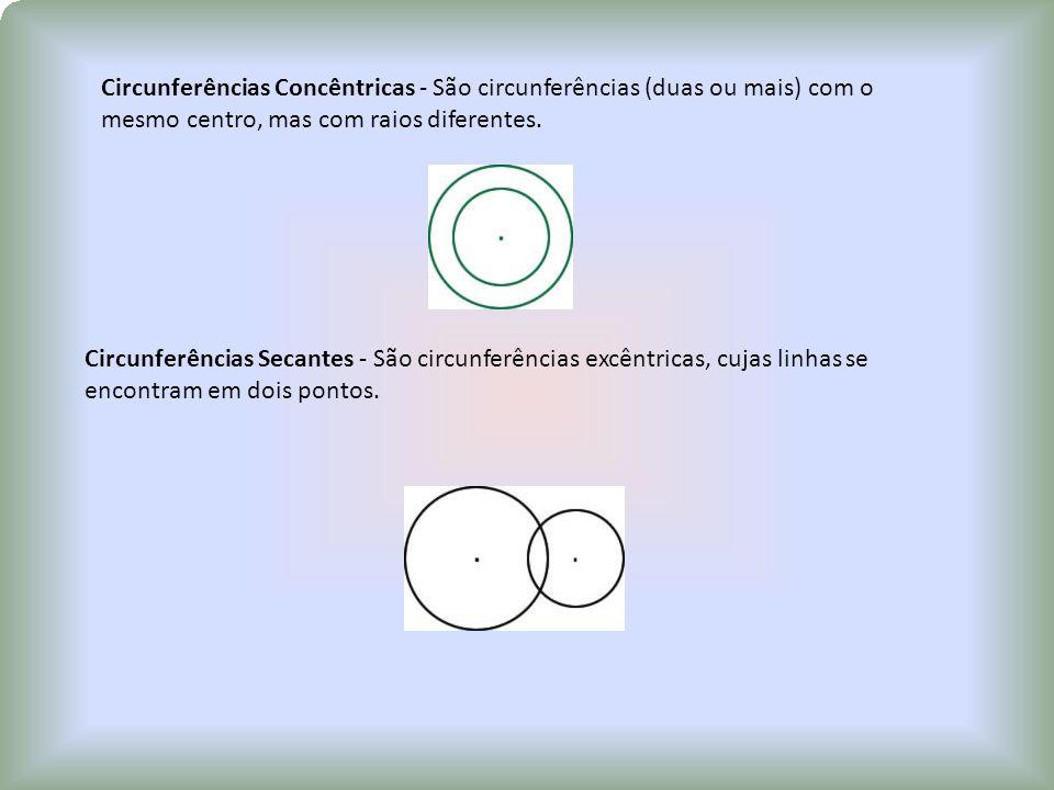 Circunferências Concêntricas - São circunferências (duas ou mais) com o mesmo centro, mas com raios diferentes.